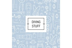 Vector underwater diving linear style background with place for text