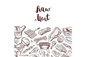 Vector hand drawn meat elements background illustration with lettering
