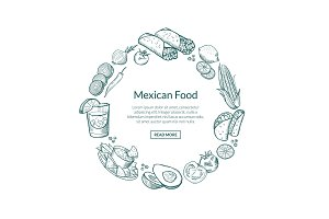 Vector sketched mexican food elements in form of circle with place for text in center