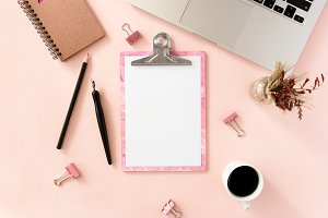Pink clipboard mockup