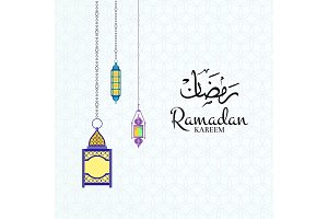 Vector Ramadan illustration with lanterns and place for text on arabic pattern background