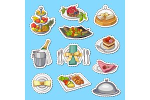 Vector hand drawn restaurant or room service elements stickers on plane background
