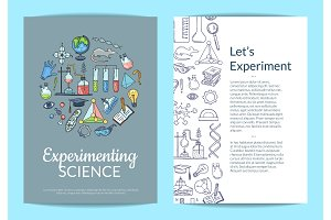 Vector card or flyer template with sketched science or chemistry elements on plain background and place for text