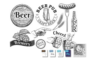 Beer emblems, labels set