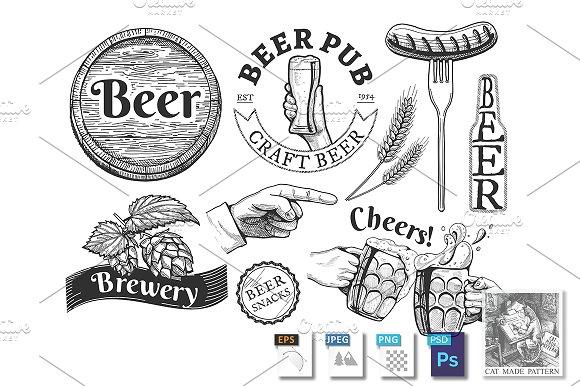 Beer Emblems Labels Set