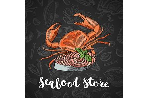 Vector hand drawn colored seafood elements composition on dark gradient background with lettering for seafood store or restaurant illustration