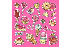 Vector hand drawn colored sweets stickers