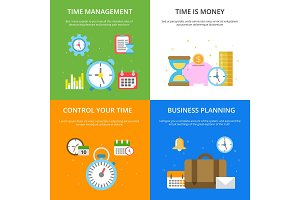 Concept illustrations at time management theme. Vector pictures in modern flat style