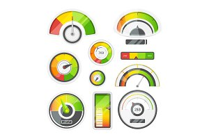 Icon set of level meters, tachometer and battery level. Vector pictures set