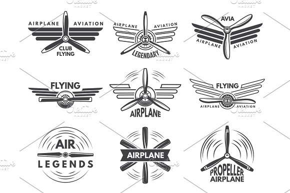 Labels An Logos For Military Aviation Aviator Symbols In Monochrome Style