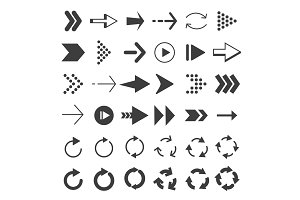 Monochrome pictures of modern arrows in different styles