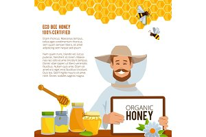 Illustrations at beekeeping theme. Poster vector template