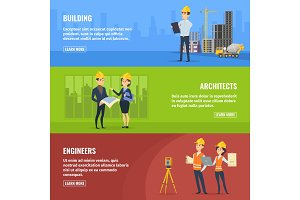 Illustrations for banners of builders architects and engineers