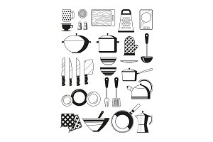 Monochrome illustrations of kitchen tools. Vector silhoette of restaurant utensil