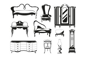 Monochrome illustrations of vintage furniture for living room