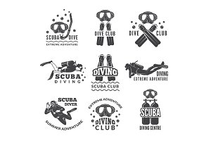 Labels or logos for diving club. Vector pictures set of divers and different specific equipment