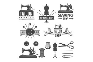 Vintage monochrome pictures and labels for tailor shop. Logos for textile production