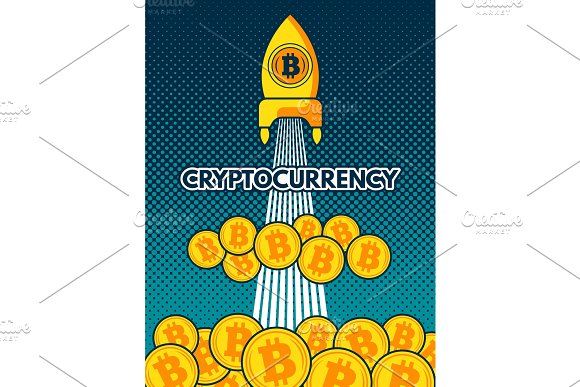 Cryptocurrency background illustration. Bitcoin to the moon