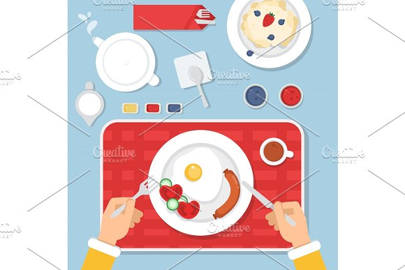 Top View Illustration Of Healthy Food For Breakfast