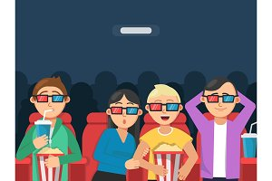 Funny characters watching scary movie in cinema