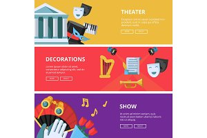 Performance or theatre illustrations. Horizontal banners