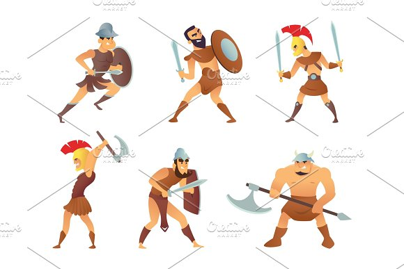 Rome Knights Or Gladiators In Different Action Poses