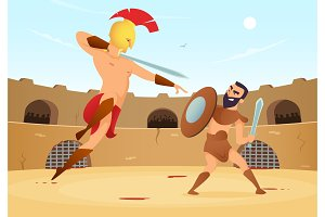 Spartan warriors fighting in gladiators arena