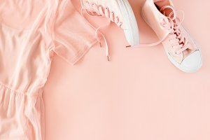 Pink dress and sneakers