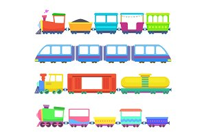 Set of different kids trains. Vector games for childrens