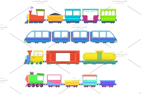 Set Of Different Kids Trains Vector Games For Childrens