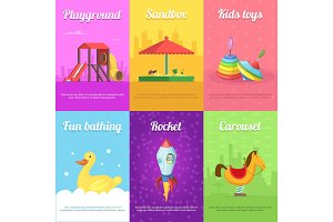 Cards for kids with illustrations of funny toys