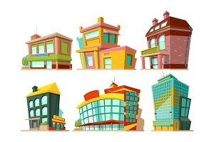 Cartoon buildings. Vector illustrations set isolate on white