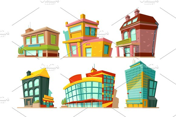 Cartoon Buildings Vector Illustrations Set Isolate On White