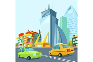 Cartoon urban landscape with modern buildings