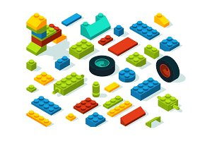 Plastic constructor isometric bricks isolate on white