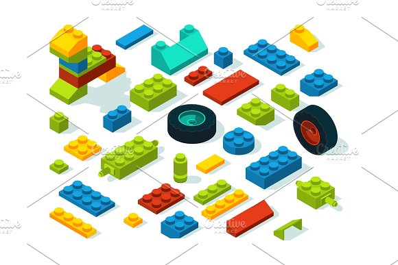 Plastic constructor isometric bricks isolate on white in Graphics
