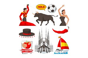 Landmarks and cultural objects and symbols of spain barcelona