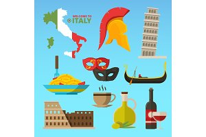Vector historical symbols of rome italy. Illustrations in flat style