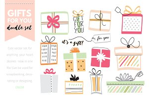 'Doodle Gift Boxes' vector elements