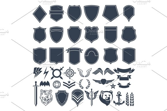 Set Of Empty Shapes For Military Badges Army Monochrome Symbols
