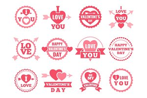 Heart, lips and other symbols of lovers. Vector pictures set for valentine day
