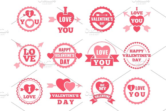 Heart Lips And Other Symbols Of Lovers Vector Pictures Set For Valentine Day