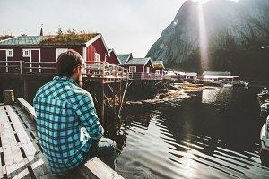 Traveler Man relaxing alone