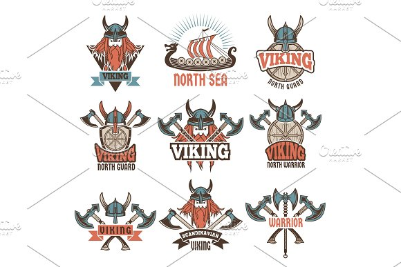Colored Labels Set With Medieval Barbarian Warriors