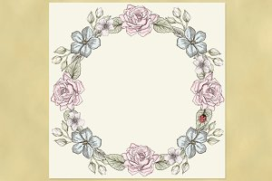 Floral Wreath. Victorian style.