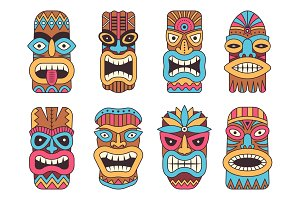 Illustrations of hawaiian tiki god. Tribal totem