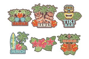 Different colored stickers and badges set with symbols of hawaiian culture