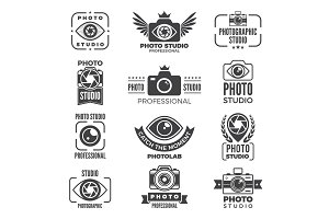 Retro pictures and logos for photo studios. Monochrome vector logotypes