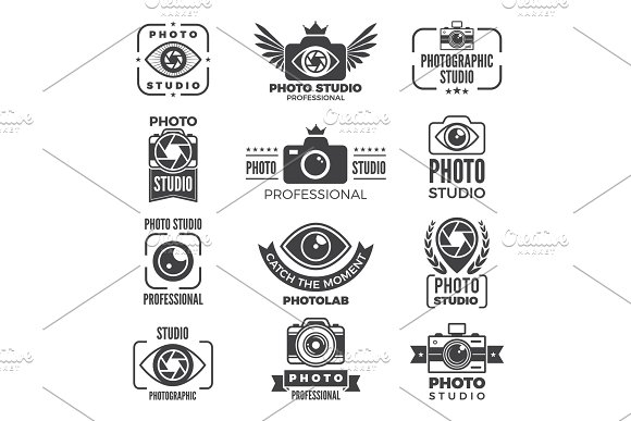 Retro Pictures And Logos For Photo Studios Monochrome Vector Logotypes