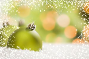 Green Christmas Ornaments Background